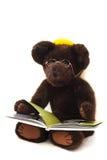 Urso da peluche que lê um livro Imagens de Stock