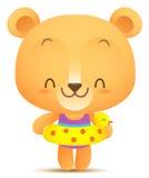 Urso de Kawaii com balão da natação Imagens de Stock Royalty Free