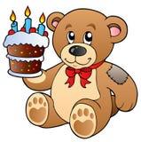 Urso de peluche bonito com bolo Fotografia de Stock