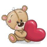 Urso de peluche bonito com coração ilustração stock