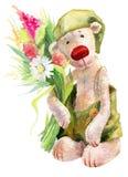 Urso de peluche bonito da aquarela com flores Fotos de Stock Royalty Free