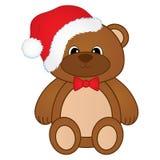 Urso de peluche bonito do Natal do vetor com curva e o chapéu vermelhos de Santa Ilustração do vetor do urso de peluche do Natal ilustração stock