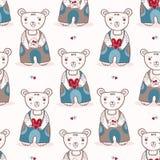 Urso de peluche bonito dos desenhos animados com carta de amor e flor ilustração do vetor