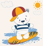 Urso de peluche bonito na prancha A ilustração do vetor, impressão de cartão das crianças, pode ser usada para imprimir t-shirt,  ilustração stock