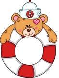 Urso de peluche bonito no flutuador com marinheiro do chapéu ilustração stock