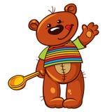 Urso de peluche bonito que guarda uma colher Fotografia de Stock