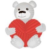 Urso de peluche bonito que senta-se com coração ilustração do vetor