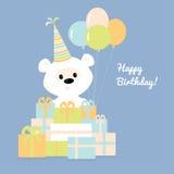 Urso de peluche branco com uma pilha dos presentes Imagem de Stock
