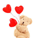 Urso de peluche com corações vermelhos Fotos de Stock Royalty Free