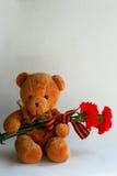 Urso de peluche com cravos e a fita vermelhos de St George Imagens de Stock