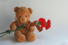 Urso de peluche com cravos e a fita vermelhos de St George Fotografia de Stock Royalty Free