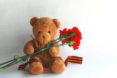 Urso de peluche com cravos e a fita vermelhos de St George Fotos de Stock Royalty Free