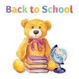 Urso de peluche com livros e globo De volta à escola watercolor ilustração royalty free
