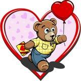 Urso de peluche com os Valentim dos doces e do balão Imagens de Stock Royalty Free