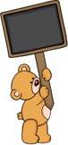 Urso de peluche com sinal de madeira vazio ilustração stock