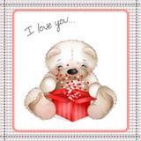 Urso de peluche com uma caixa dos corações Imagens de Stock Royalty Free