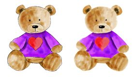 Urso de peluche da aquarela ajustado para o projeto Mão desenhada fotografia de stock