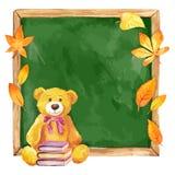 Urso de peluche da aquarela na administração da escola Autumn Leaves Imagens de Stock
