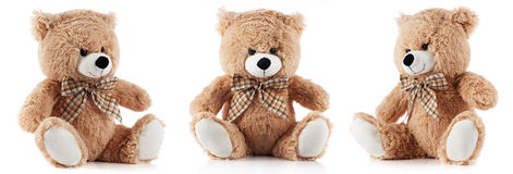 Urso de peluche do brinquedo isolado no branco Fotografia de Stock Royalty Free