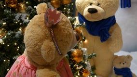 Urso de peluche do marrom do brinquedo da princesa em um vestido e em uma coroa que gerenciem ao redor em um shopping Natal-decor vídeos de arquivo
