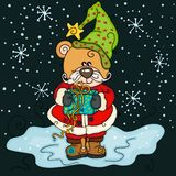 Urso de peluche do Natal com o presente no fundo da noite ilustração royalty free