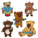Urso de peluche do rock and roll para o herói tirado crianças, a cópia para camisas de t, as etiquetas e as etiquetas, tatuagem Imagens de Stock Royalty Free