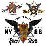 Urso de peluche do rock and roll para o herói tirado crianças, a cópia para camisas de t, as etiquetas e as etiquetas, tatuagem Fotos de Stock Royalty Free