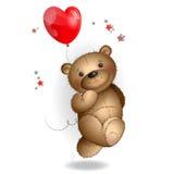 Urso de peluche feliz que corre com um balão 1 Fotos de Stock Royalty Free