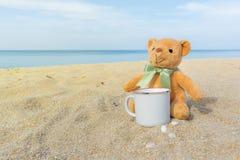 Urso de peluche marrom bonito que senta-se na praia com um copo de café Conceito para o abrandamento, o conforto e o feriado com  fotografia de stock