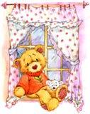 Urso de peluche na janela Ilustração da aguarela ilustração do vetor