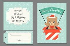 Urso de peluche no cartão atual da caixa ilustração do vetor