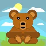 Urso de peluche no estilo liso dos desenhos animados no fundo dos prados, do sol e das nuvens ilustração do vetor