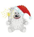 Urso de peluche no tampão de Papai Noel Imagens de Stock Royalty Free