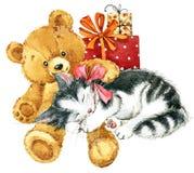 Urso de peluche para o cartão de aniversário watercolor ilustração stock