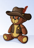 Urso de peluche pequeno bonito vestido como um xerife Fotos de Stock Royalty Free