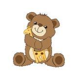 Urso de peluche que joga com seu brinquedo, um girafa Foto de Stock