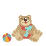 Urso de peluche que senta-se com numeral uma, bola ilustração stock