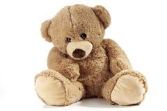 Urso de peluche que senta-se no fundo branco Fotos de Stock Royalty Free
