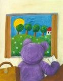 Urso de peluche roxo que olha a calha a janela Imagens de Stock