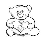 Urso de peluche simples do esboço da tração da mão Imagem de Stock