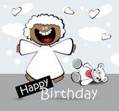 Urso do anjo do cartão do feliz aniversario Fotos de Stock Royalty Free