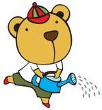 Urso do bebê e lata molhando Fotos de Stock Royalty Free