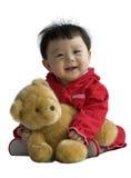 Urso do brinquedo da terra arrendada do bebê isolado Foto de Stock Royalty Free