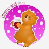Urso do guloso com o frasco doce do doce Imagens de Stock