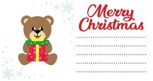 Urso do Natal do inverno dos desenhos animados com presente de Natal na letra do Natal a Santa ilustração royalty free