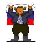 Urso do russo com bandeira do russo Imagens de Stock Royalty Free