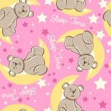 Urso do tempo de sono que senta-se no teste padrão sem emenda da lua Foto de Stock
