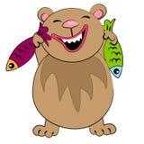 Urso dos desenhos animados com peixes. caráter animal Fotografia de Stock Royalty Free