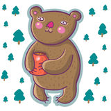 Urso dos desenhos animados com potenciômetro do mel Fotografia de Stock Royalty Free
