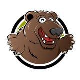 Urso dos desenhos animados no emblema Foto de Stock Royalty Free